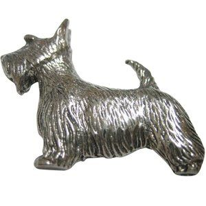 Silver Toned Textured Scottish Terrier Dog Magnet